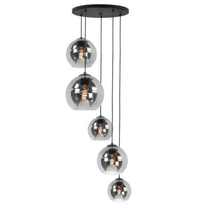 hanglamp rond zwart rookglas