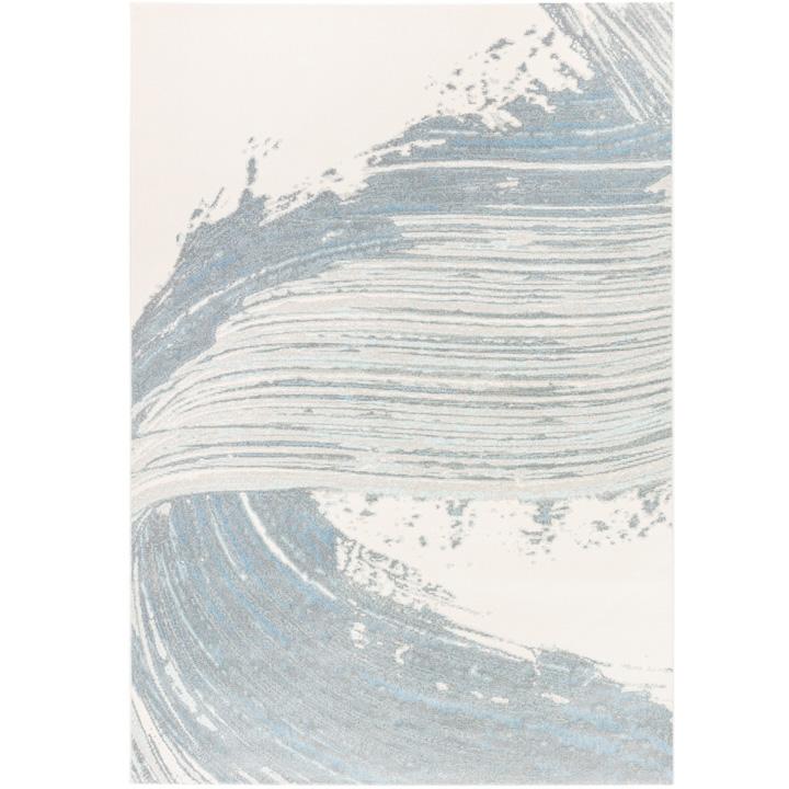 vloerkleed lichtblauw met wit