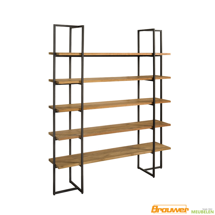open boekenkast roomdivider rek teakhout metaal