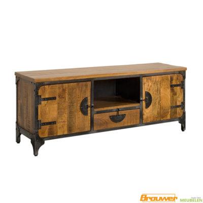 mangohout tv-meubel 150 cm metaal stoer tv-meubel