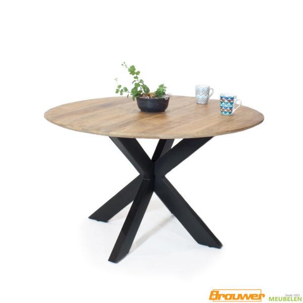 tafel rond verjongd blad mangohout ronde eettafel 130cm