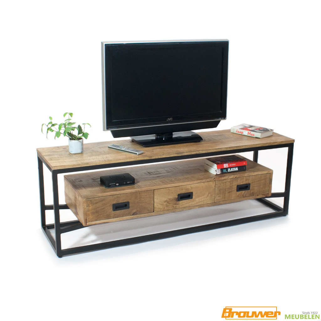 tv-meubel-mangohout-3lade-150cm-met-lade