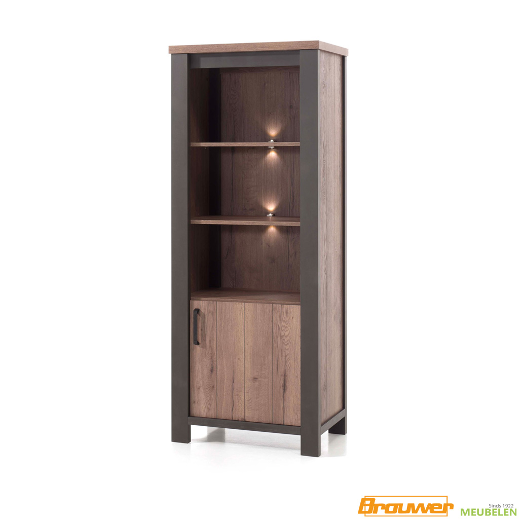 boekenkast met verlichting 1 deur donker