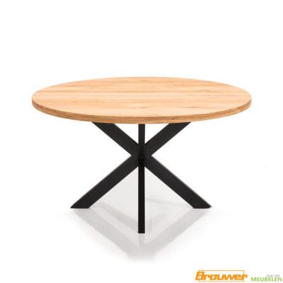 ronde tafel eikenhout zwarte stervoet 130 diameter