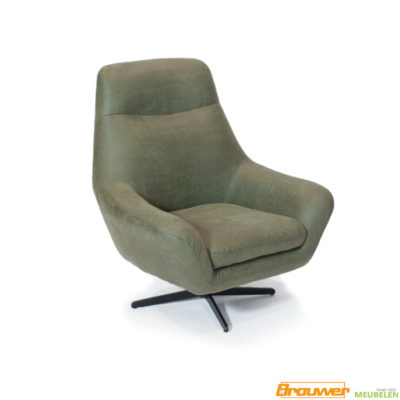 stoere fauteuil draaibaar moss groen zwarte stervoer poot