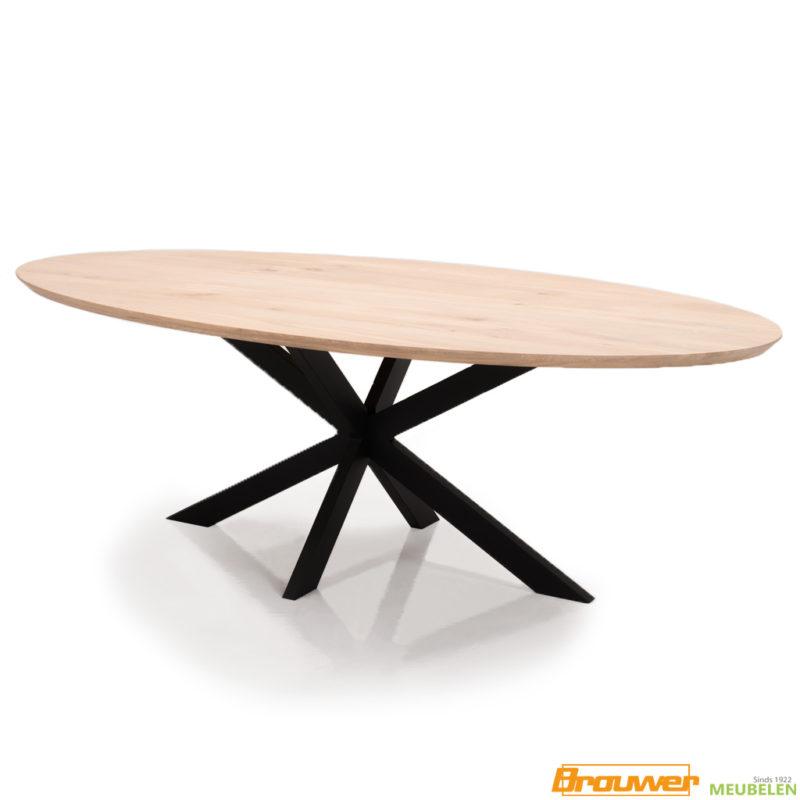 ovale tafel eikenhout metaal natuurlijk natuurkleur