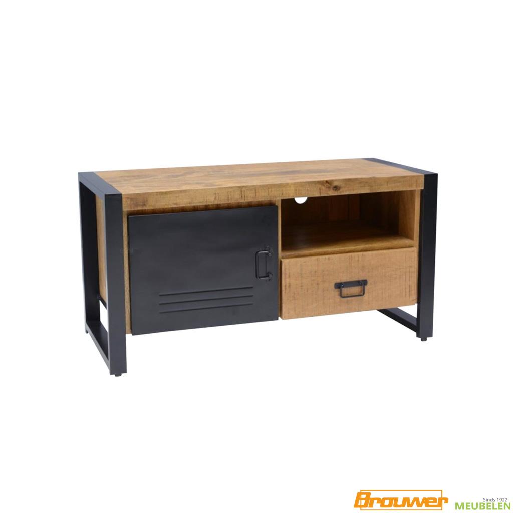 klein tv meubel 105 cm mangohout industrieel