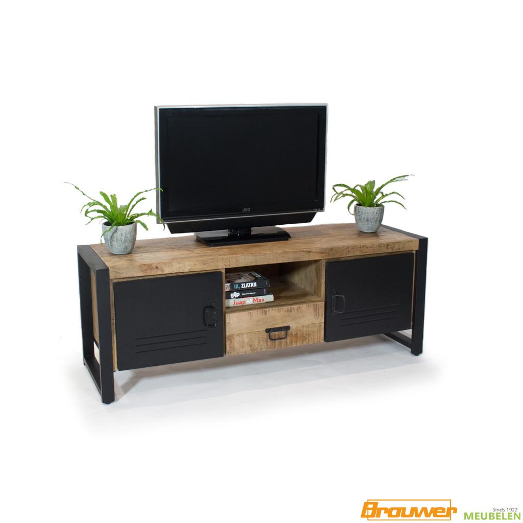 tv meubel industrieel metaal mangohout 150cm met lade